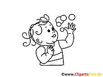 Gratis Ausmalbild Mädchen spielt Seifeblasen