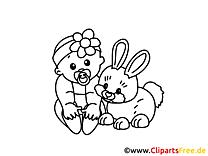 Kostenlose Malvorlage für Kindergarten und Vorschule Baby und Hase