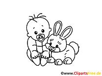 Lustiges Ausmalbild Baby und Osterhase