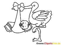 Storch und Baby Malvorlage