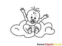 Zum Ausmalen Grafik mit Baby