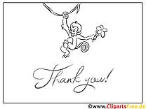 Affe Dankeskarte selber drucken