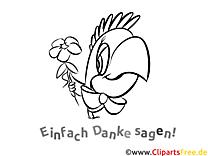 Ausmalbild Danke Papagei