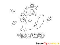 Bier Katze lustige Danke Bilder zum Ausmalen