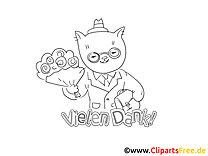 Blumenstrauß Katze lustige Danke Bilder zum Ausmalen