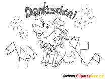 Feuerwerk Hund Dankeskarte selber drucken