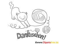 Gewirr Katze lustige Danke Bilder zum Ausmalen