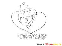 Herz Katze lustige Danke Bilder zum Ausmalen