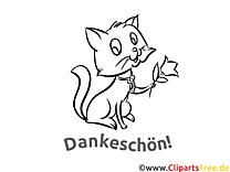 Kätzchen Ausmalbilder Dankworte zum Drucken