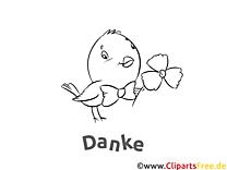 Kostenlose Dankeskarte Vogel zum Ausdrucken und Ausmalen