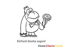 Makaken kostenlose Malvorlage Danke