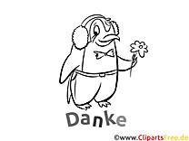 Pinguin Kostenlose Dankeskarten zum Ausdrucken und Ausmalen
