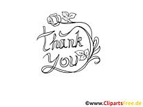 Thank You Worte zum Ausmalen