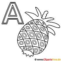 Ananas - Buchstaben zum Ausmalen