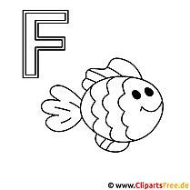 Fisch Ausmalbild - Schablonen Buchstaben