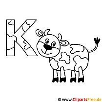 Kuh Ausmalbild - Vorlage Buchstaben
