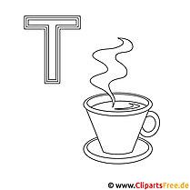 Teetasse Ausmalbild - ABC zum Ausmalen