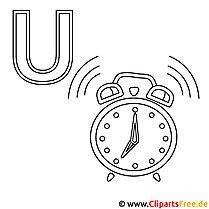 Uhr Ausmalbild - Buchstaben zum Ausmalen gratis