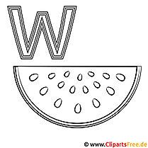 Wassermelone Ausmalbild - Buchstaben zum Ausmalen