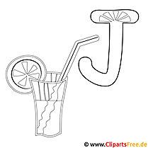 Juice - Buchstaben zum Ausmalen und Drucken