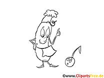 Ausmalbild Gurke und Kirsche