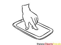 Ausmalbild Hand mit Smartphone