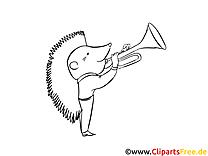 Igel spielt Trompete Malvorlage