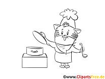Kater-Koch Bilder, Malvorlagen, Grafiken zum Drucken und Ausmalen
