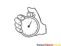 Malvorlage Hand mit Stoppuhr