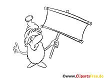Mann mit Bart Ausmalbild-Vorlage gratis