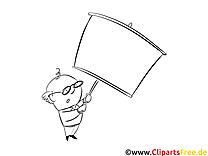 Mann mit Schild Ausmalbild-Vorlage gratis