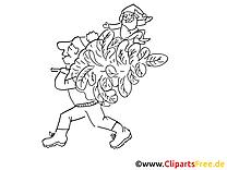Mann trägt Tannennbaum Malvorlage kostenlos