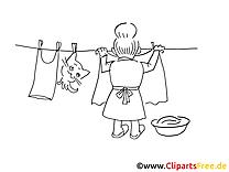 Oma hängt Wäsche auf Malvorlage kostenlos