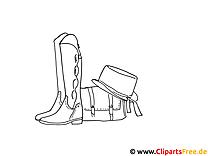 Bilder zum Ausmalen und Drucken Stiefel, Tasche, Hut