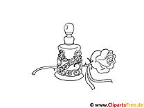 Rose und Parfüm Bild schwarz-weiss zum Ausmalen