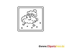 Wolke mit Mütze gratis Bilder zum Ausmalen