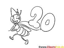 Ameise zum Geburtstag Ausmalbild