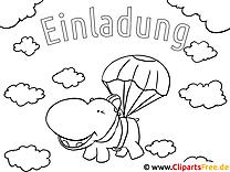 Ausmalbild Fallschirm