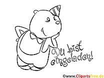 Cartoon-Malvorlage Einladung zum Geburtstag