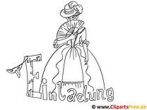 Dame im Abendkleid Bild zum Ausmalen