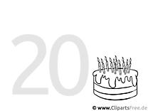 Einladung 20 Geburtstag Malvorlage gratis