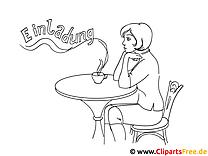 Kaffeepause Malvorlage zum Ausdrucken und Ausmalen