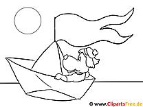 Papierschiff Malvorlage-Bild