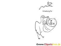 Storch mit Baby Klappkarte-Einladung gratis basteln