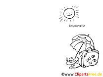 Urlaub Regenschirm Klappkarte-Einladung gratis basteln