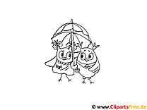 Zwei Uhus unter dem Regenschirm Bild zum Ausmalen