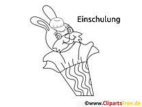 Malvorlage Kanninchen zur Einschulung