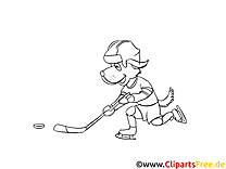 Cartoonhund spielt Eishockey Winter-Sport