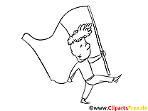 Guy with flag - Fourth of July Colouring Pages
