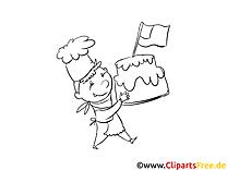 Kleiner Koch mit Torte - Vorlagen zum Ausmalen und Ausdrucken gratis